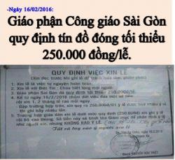 Giáo Phận Công Giáo Sài Gòn Qui Định Tiền Lễ